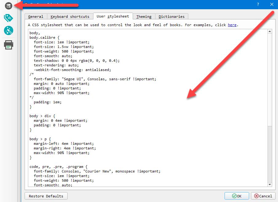 Optimal font-smoothing for Calibre ePUB Reader
